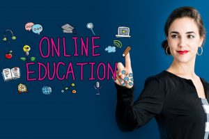 Online Education concept with business woman