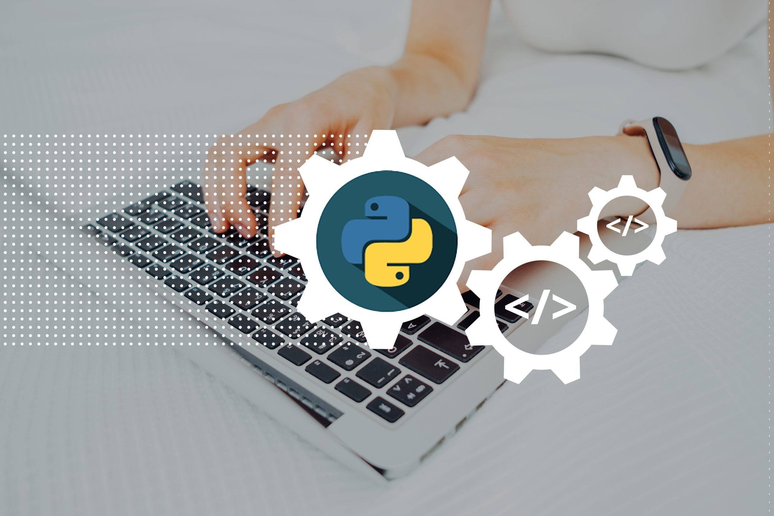 Python programming code language learning concept with person and laptop